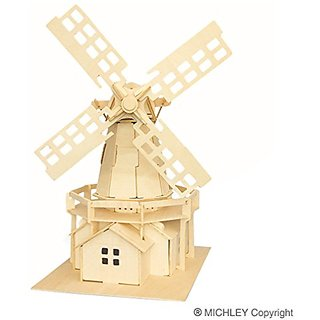 MICHLEY 1pc 3D Wooden Construction Jigsw Puzzle Kid Educational Woodcraft DIY Kit Toy Simulation Models Holand Windmill
