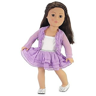18 Inch Doll Clothes Purple Cardigan Tutu Style Skirt Outfit with Silver Sequined Shoes Fits American Girl Dolls Gift-bo
