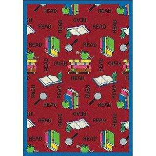 Joy Carpets Kid Essentials Language & Literacy Bookworm Rug, Red, 109