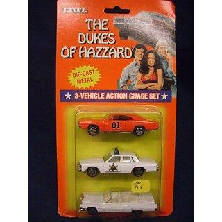 Dukes of Hazzard Hazzard County Car Set General Lee, Boss Hogg, Daisy