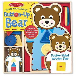 Melissa & Doug Button-Up Bear Pattern-Match Lacing Set With 5 Double-Sided Cards, Buttons, and Laces