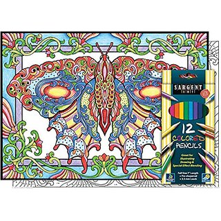 Butterfly Beauty - Color By Number Poster Set - Includes 12 Colored Pencils