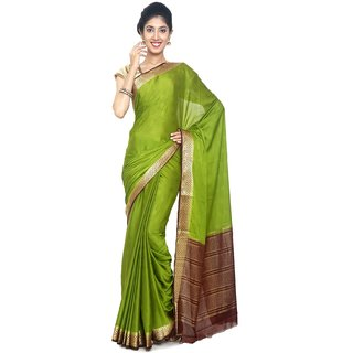 Sudarshan Silks Green Polyester Self Design Saree With Blouse