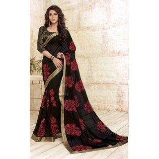 Sudarshan Silks Black Self Design Raw Silk Saree with Blouse