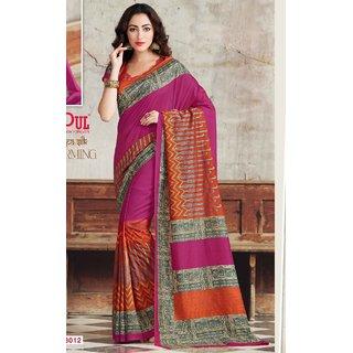 Sudarshan Silks Multicolor Dupion Silk Self Design Saree With Blouse