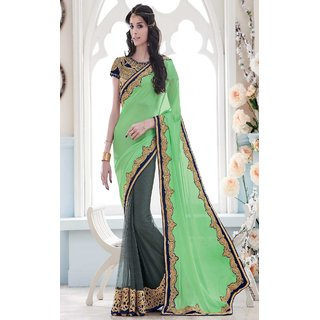 Sudarshan Silks Green Geometric Print Net Saree with Blouse