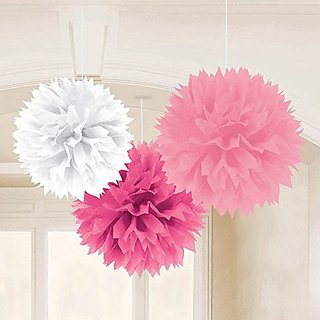 Amscan Pretty Fluffy Baby Shower Hanging for Party Decorations, 16