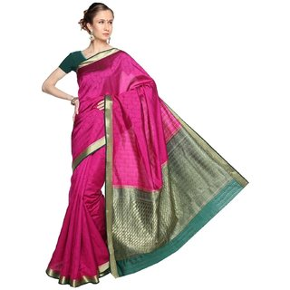 Sudarshan Silks Purple Raw Silk Self Design Saree With Blouse