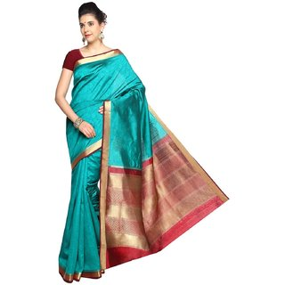 Sudarshan Silks Blue Self Design Raw Silk Saree with Blouse
