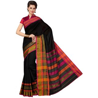 Sudarshan Silks Black Solid Raw Silk Saree with Blouse