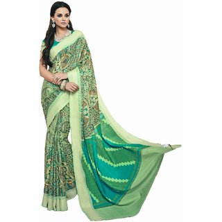 Sudarshan Silks Multicolor Crepe Self Design Saree With Blouse