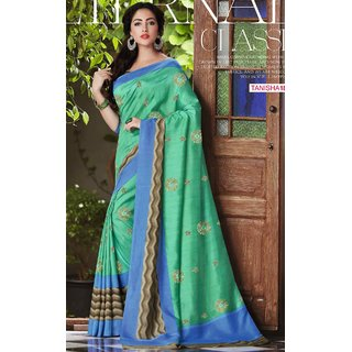 Sudarshan Silks Green Dupion Silk Self Design Saree With Blouse