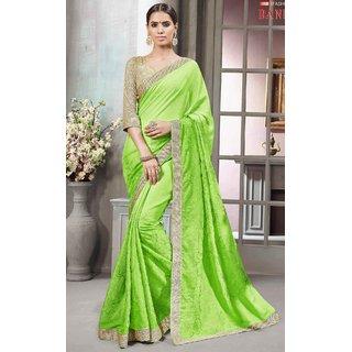 Sudarshan Silks Green Self Design Chiffon Saree with Blouse
