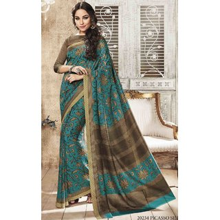 Sudarshan Silks Blue Self Design Bhagalpuri Silk Saree with Blouse