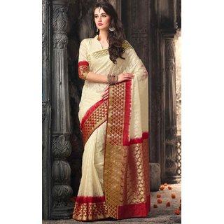 Sudarshan Silks White Raw Silk Self Design Saree With Blouse