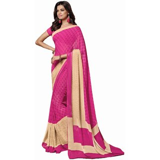 Sudarshan Silks Pink Self Design Crepe Saree with Blouse