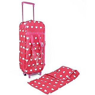 Doll trolley designed especially for sleepovers. This travel case is convenient for packing your two favorite 18 inch d