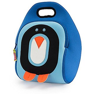 Dabbawalla Bags (Kitchen) Cold Feet Penguin Kids Washable Lunch Tote Bag, Blue Black Orange White