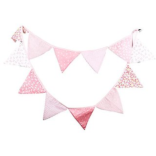 Pink Tone Fabric Flag Buntings Garlands Wedding Birthday Party Decoration