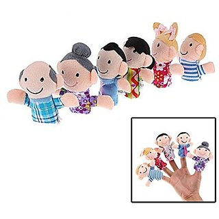 AxiEr 6pcs Family Finger Puppets Learn Story Toys Set