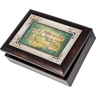 Mother-in-Law Family Memories Cottage Garden Italian Style Burlwood Finish with Decorative Inlay Jewelry Music Box Plays