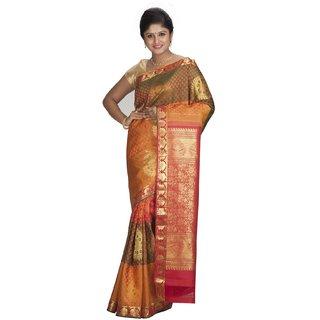 Sudarshan Silks Orange Geometric Print Silk Saree with Blouse