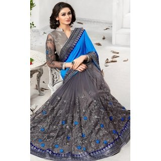 Sudarshan Silks Multicolor Net Geometric Saree With Blouse