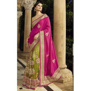 Sudarshan Silks Purple Geometric Print Georgette Saree with Blouse