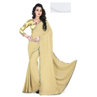 Sudarshan Silks Cream Cotton Self Design Saree With Blouse
