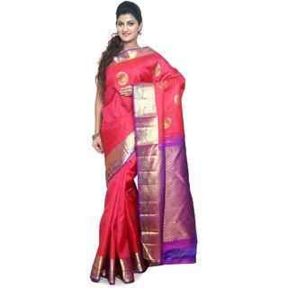Sudarshan Silks Pink Silk Self Design Saree With Blouse