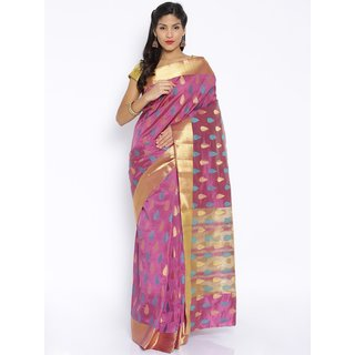 Sudarshan Silks Beige Self Design Raw Silk Saree with Blouse