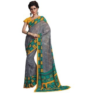 Sudarshan Silks Gray Geometric Print Synthetic Saree with Blouse