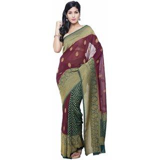 Sudarshan Silks Multicolor Chiffon Self Design Saree With Blouse