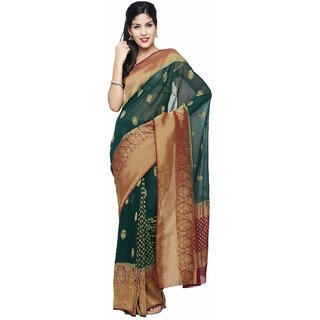 Sudarshan Silks Green Chiffon Self Design Saree With Blouse