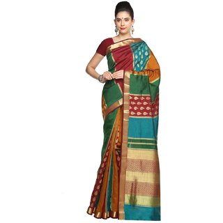 Sudarshan Silks Multicolor Self Design Raw Silk Saree with Blouse
