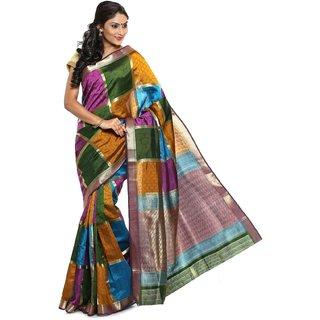 Sudarshan Silks Multicolor Self Design Tussar Silk Saree with Blouse