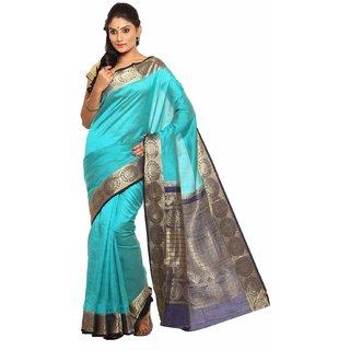Sudarshan Silks Blue Tussar Silk Self Design Saree With Blouse
