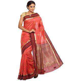 Sudarshan Silks Orange Self Design Tussar Silk Saree with Blouse