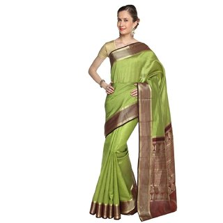 Sudarshan Silks Green Tussar Silk Self Design Saree With Blouse