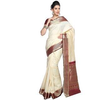 Sudarshan Silks White Tussar Silk Self Design Saree With Blouse