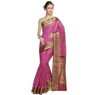 Sudarshan Silks Purple Self Design Georgette Saree with Blouse