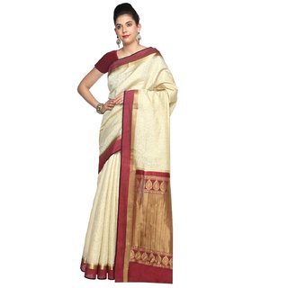 Sudarshan Silks White Georgette Self Design Saree With Blouse