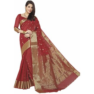 Sudarshan Silks Maroon Cotton Geometric Saree With Blouse
