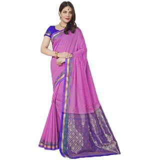 Sudarshan Silks Pink Geometric Print Cotton Saree with Blouse