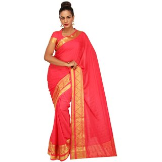 Sudarshan Silks Pink Self Design Crepe Saree with Blouse
