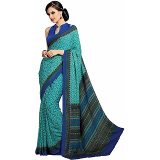 Sudarshan Silks Blue Cotton Self Design Saree With Blouse
