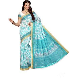 Sudarshan Silks Blue Cotton Geometric Saree With Blouse