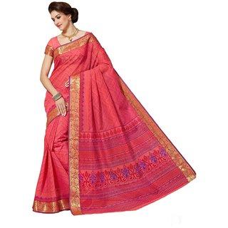 Sudarshan Silks Red Geometric Print Cotton Saree with Blouse