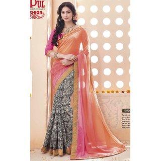 Sudarshan Silks Pink Georgette Self Design Saree With Blouse