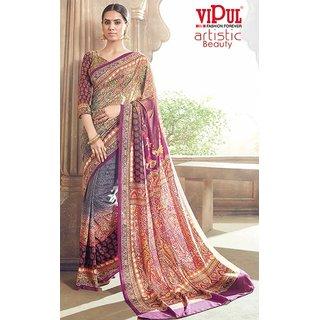 Sudarshan Silks Multicolor Self Design Crepe Saree with Blouse